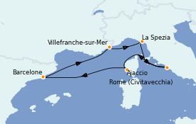 Itinéraire de la croisière Méditerranée 6 jours à bord du Adventure of the Seas