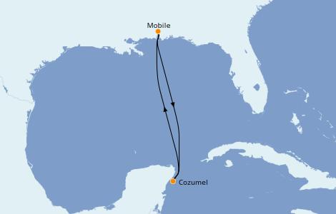 Itinéraire de la croisière Caraïbes de l'Ouest 4 jours à bord du Carnival Sensation