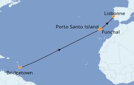 Itinéraire de la croisière Îles Canaries 12 jours à bord du Seabourn Odyssey