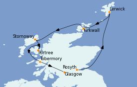 Itinéraire de la croisière Îles Britanniques 8 jours à bord du Le Champlain