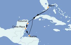 Itinéraire de la croisière Caraïbes de l'Ouest 8 jours à bord du Carnival Celebration