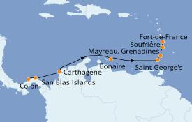 Itinéraire de la croisière Caraïbes de l'Est 10 jours à bord du Le Champlain