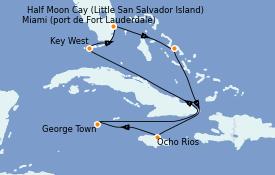 Itinéraire de la croisière Caraïbes de l'Ouest 8 jours à bord du ms Nieuw Statendam