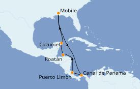 Itinéraire de la croisière Caraïbes de l'Ouest 11 jours à bord du Carnival Fantasy