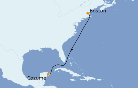 Itinéraire de la croisière Caraïbes de l'Ouest 8 jours à bord du Le Champlain