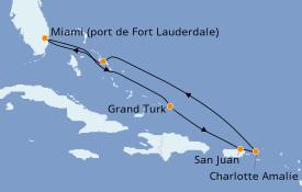 Itinéraire de la croisière Caraïbes de l'Est 8 jours à bord du ms Koningsdam