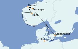Itinéraire de la croisière Fjords & Norvège 8 jours à bord du MSC Grandiosa