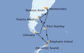 Itinéraire de la croisière Exploration polaire 18 jours à bord du Azamara Quest