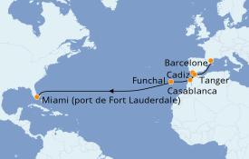 Itinéraire de la croisière Îles Canaries 16 jours à bord du ms Rotterdam