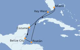 Itinéraire de la croisière Caraïbes de l'Ouest 8 jours à bord du Empress of the Seas