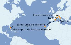 Itinéraire de la croisière Transatlantiques et Grands Voyages 2020 15 jours à bord du Celebrity Edge