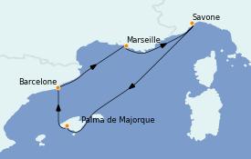 Itinéraire de la croisière Méditerranée 6 jours à bord du Costa Fascinosa
