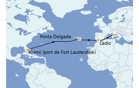 Itinéraire de la croisière Méditerranée 14 jours à bord du ms Westerdam