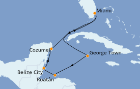 Itinéraire de la croisière Caraïbes de l'Ouest 8 jours à bord du Carnival Magic