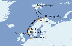 Itinéraire de la croisière Fjords & Norvège 15 jours à bord du MSC Preziosa