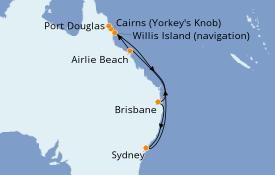 Itinéraire de la croisière Australie 2021 12 jours à bord du Celebrity Solstice