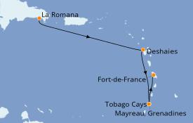 Itinéraire de la croisière Caraïbes de l'Est 8 jours à bord du Club Med 2