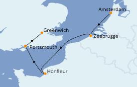 Itinéraire de la croisière Îles Britanniques 7 jours à bord du Silver Spirit