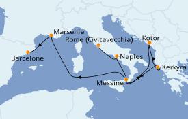 Itinéraire de la croisière Méditerranée 9 jours à bord du Carnival Legend