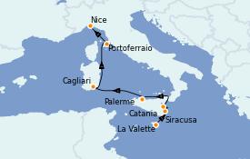 Itinéraire de la croisière Méditerranée 8 jours à bord du Le Bougainville
