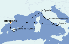 Itinéraire de la croisière Méditerranée 8 jours à bord du Harmony of the Seas