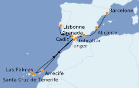 Itinéraire de la croisière Méditerranée 13 jours à bord du Seven Seas Voyager