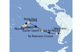 Itinéraire de la croisière Polynésie 21 jours à bord du Silver Whisper