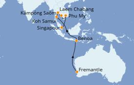 Itinéraire de la croisière Australie 2020 15 jours à bord du Sea Princess