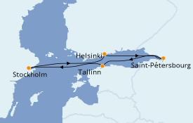 Itinéraire de la croisière Mer Baltique 8 jours à bord du Costa Magica