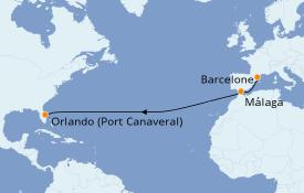 Itinéraire de la croisière Transatlantiques et Grands Voyages 2021 15 jours à bord du Harmony of the Seas