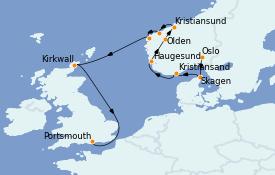 Itinerario de crucero Fiordos y Noruega 11 días a bordo del MS Marina