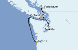 Itinéraire de la croisière Alaska 6 jours à bord du Celebrity Millenium