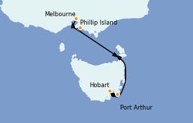Itinéraire de la croisière Australie 2022 7 jours à bord du Sapphire Princess