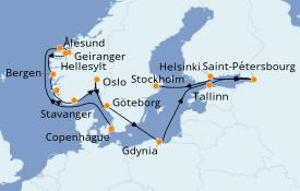 Itinéraire de la croisière Mer Baltique 19 jours à bord du Seven Seas Splendor
