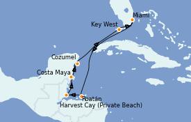 Itinéraire de la croisière Caraïbes de l'Ouest 8 jours à bord du Seven Seas Splendor