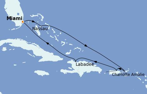 Itinéraire de la croisière Caraïbes de l'Est 7 jours à bord du Oasis of the Seas