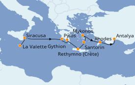 Itinéraire de la croisière Grèce & Adriatique 9 jours à bord du