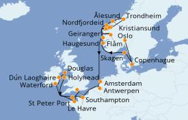 Itinéraire de la croisière Fjords & Norvège 23 jours à bord du Seven Seas Voyager