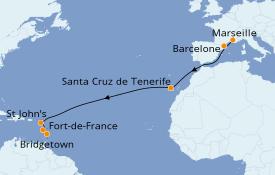 Itinéraire de la croisière Transatlantiques et Grands Voyages 2020 14 jours à bord du Costa Favolosa