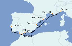 Itinéraire de la croisière Méditerranée 11 jours à bord du Costa Diadema