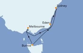 Itinéraire de la croisière Australie 2020 7 jours à bord du Queen Elizabeth