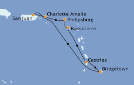 Itinéraire de la croisière Caraïbes de l'Est 8 jours à bord du Carnival Fascination