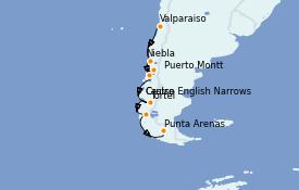 Itinéraire de la croisière Amérique du Sud 10 jours à bord du Silver Cloud Expedition