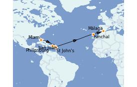 Itinéraire de la croisière Transatlantiques et Grands Voyages 2022 15 jours à bord du MSC Armonia