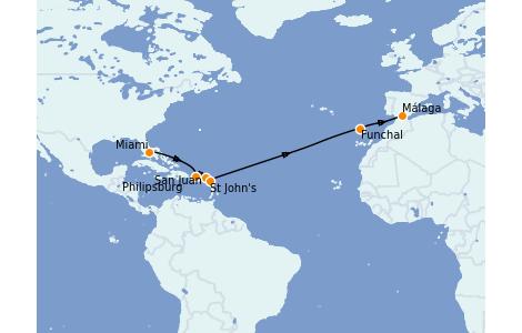 Itinéraire de la croisière Transatlantiques et Grands Voyages 2022 14 jours à bord du MSC Armonia