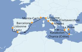 Itinéraire de la croisière Méditerranée 12 jours à bord du Norwegian Star