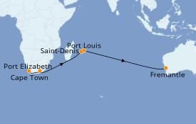 Itinéraire de la croisière Australie 2019 17 jours à bord du Queen Elizabeth