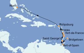 Itinéraire de la croisière Caraïbes de l'Est 12 jours à bord du MS Sirena