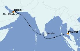 Itinéraire de la croisière Transatlantiques et Grands Voyages 2022 13 jours à bord du MSC Virtuosa