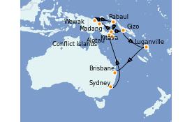 Itinéraire de la croisière Australie 2022 20 jours à bord du Pacific Princess